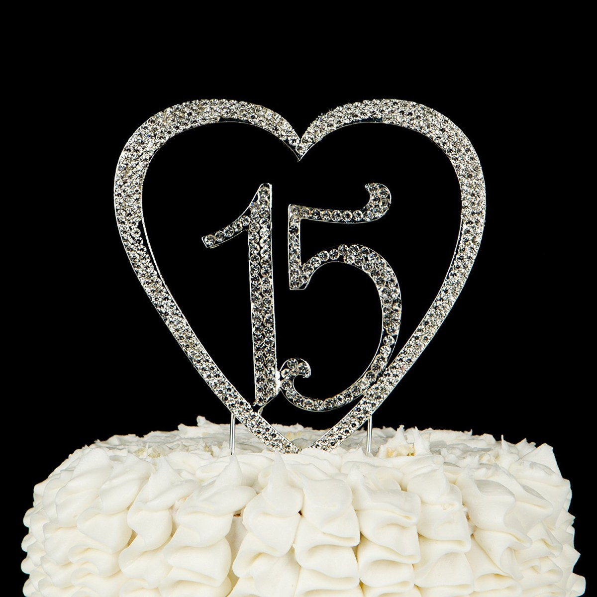 Remarkable 15 Birthday Cakes 15 Heart Cake Topper Gold 15Th Birthday Party Birthday Cards Printable Riciscafe Filternl