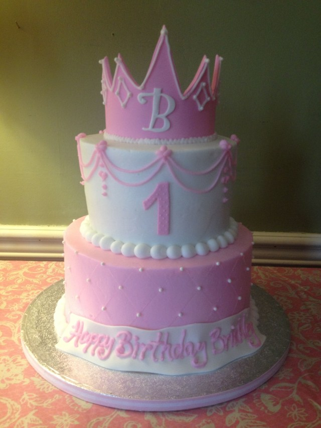 1St Birthday Cake Girl Ba Girls First Princess And Crown Pink The
