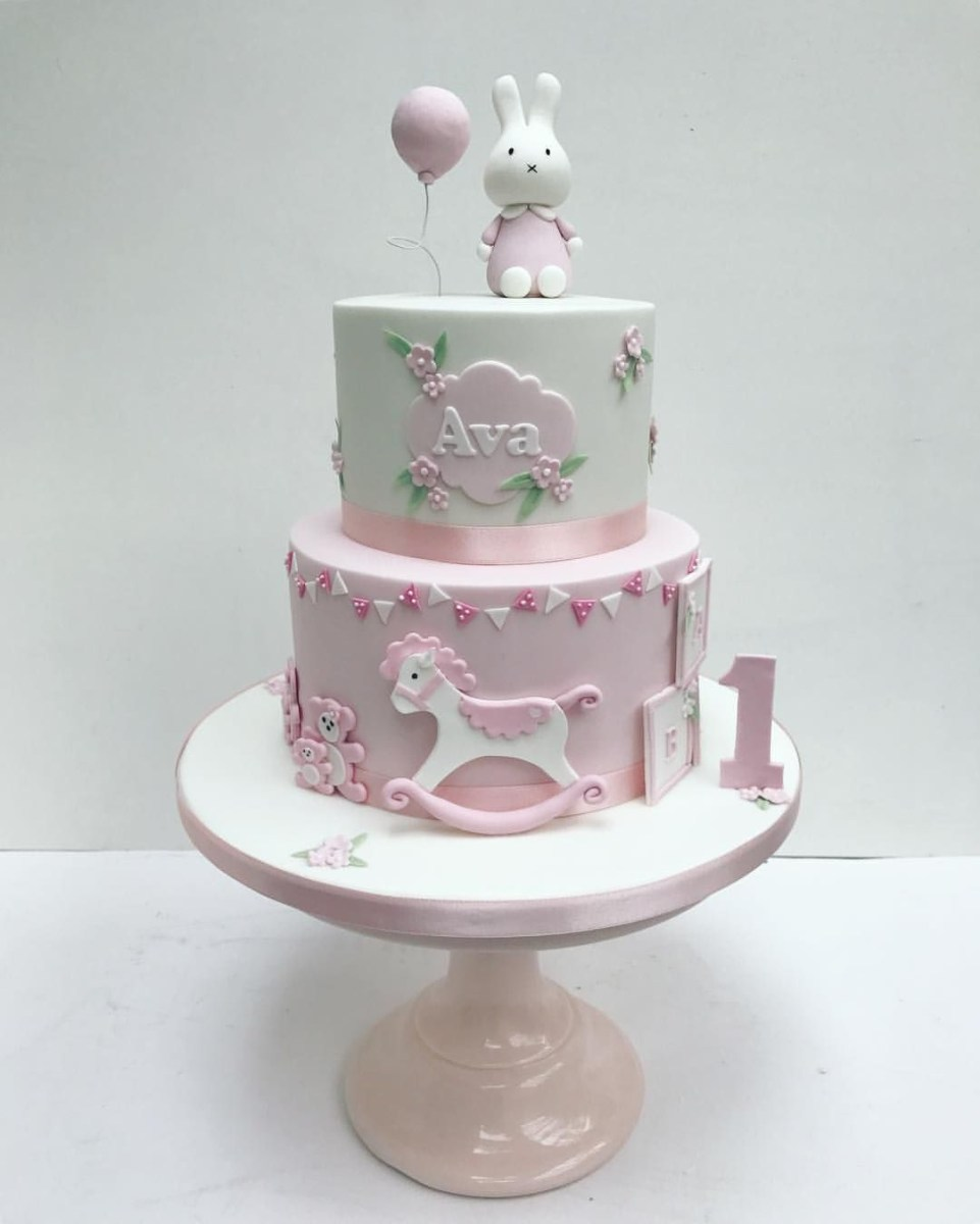 Awesome 1St Birthday Cake Girl Miffy Pink Bunny Cake For Little Girls Funny Birthday Cards Online Alyptdamsfinfo
