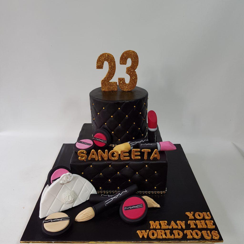 Astounding 23 Birthday Cake Make Up Cake Theme Sooperlicious Cakes Birijus Com Funny Birthday Cards Online Ioscodamsfinfo