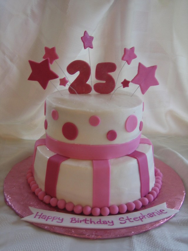25Th Birthday Cakes 25th Birthday Cake 25th Birthday Cake With Fondant Stars Flickr