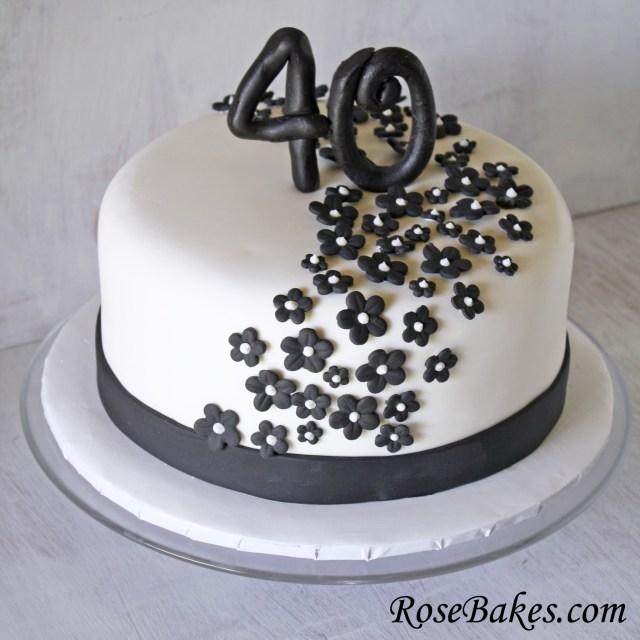 40Th Birthday Cakes Black White 40th Birthday Cake Flowers Rose Bakes