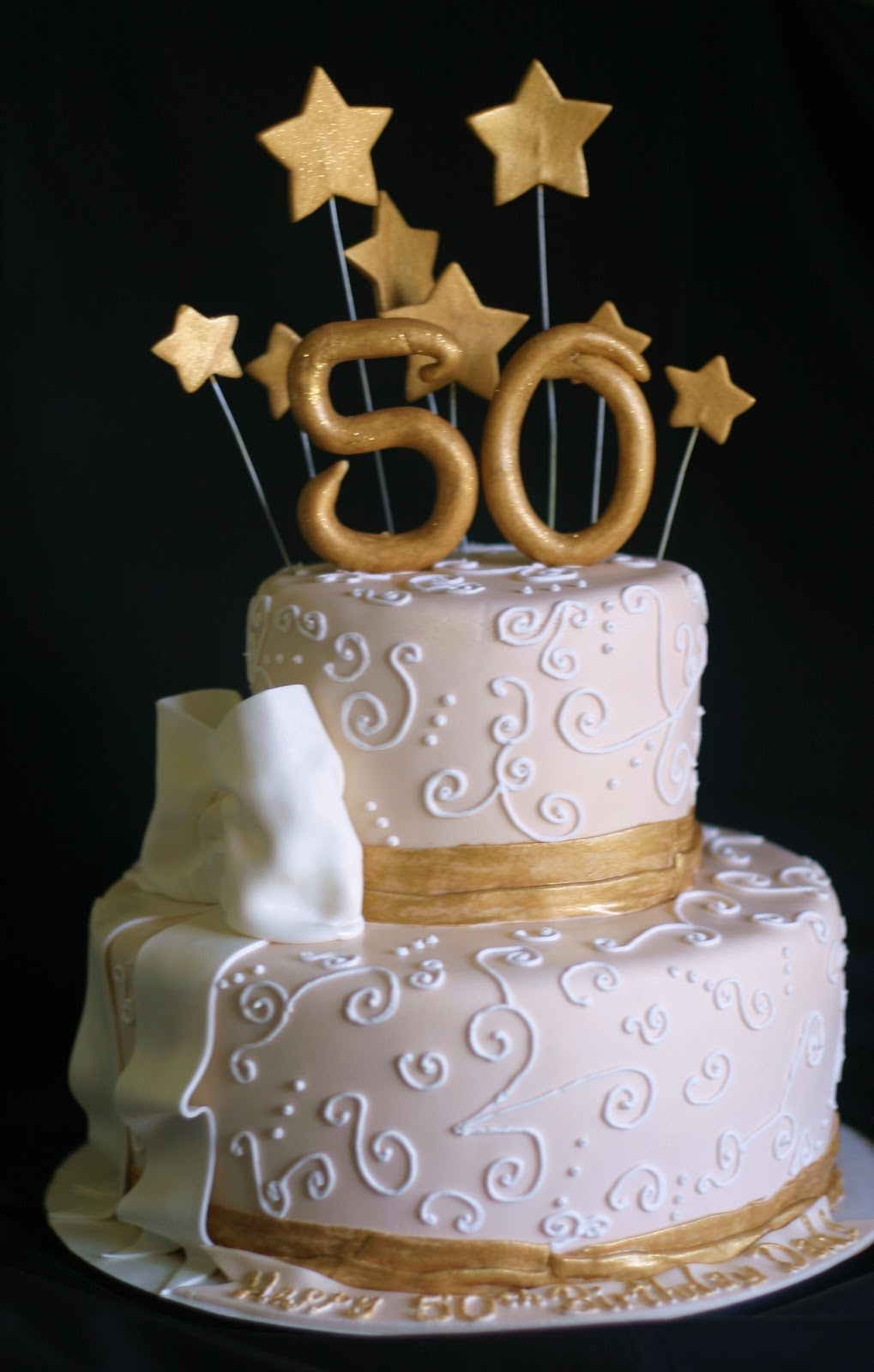 Terrific 50 Birthday Cakes Pink Little Cake Gold And Light Ivory 50Th Personalised Birthday Cards Veneteletsinfo
