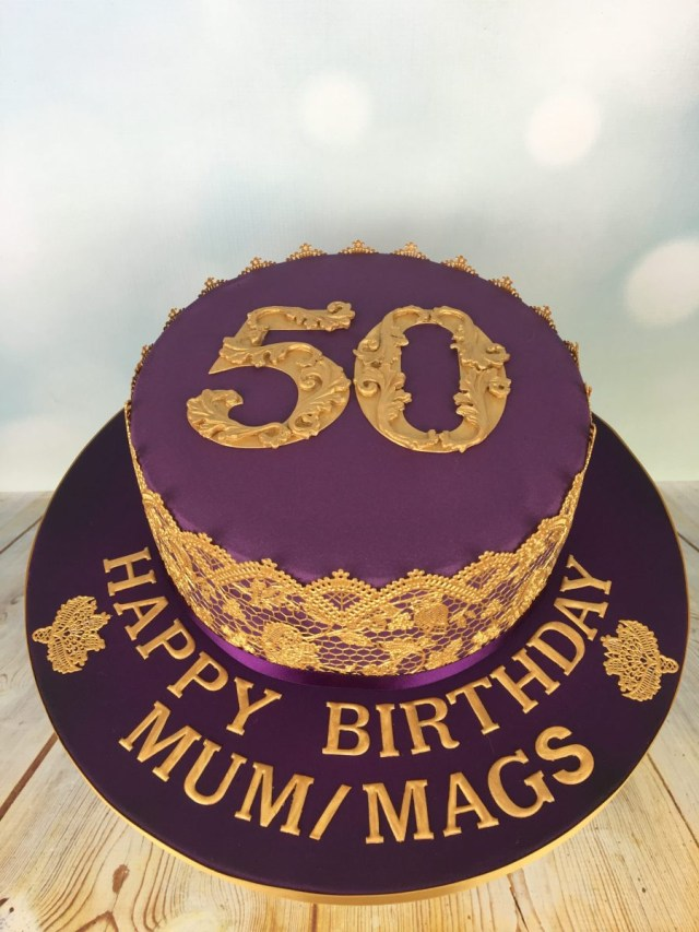 50 Birthday Cakes Purple And Gold 50th Birthday Cake Mels Amazing Cakes
