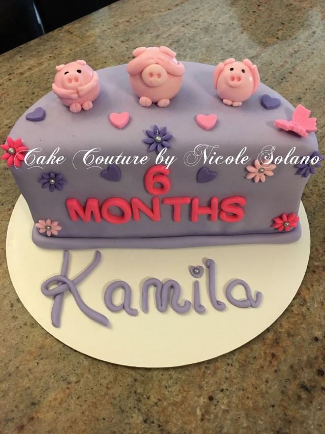 6 Month Birthday Cake 6 Month Half Cake Three Little Pigs Cake Half Birthday Cake