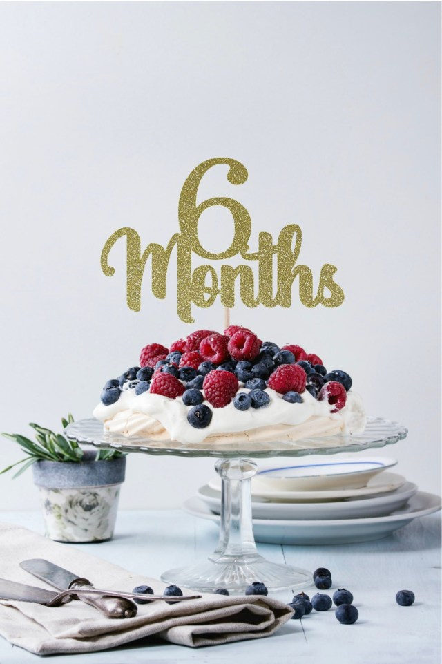 6 Month Birthday Cake Gold Glitter 6 Months Birthday Cake Topper Half Birthday Cake Etsy