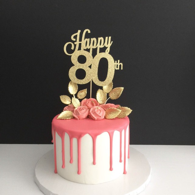 80Th Birthday Cakes Any Age 80th Cake Topper Happy