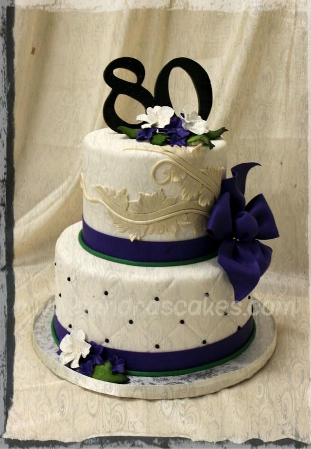 80Th Birthday Cakes Elegant 80th On Cake