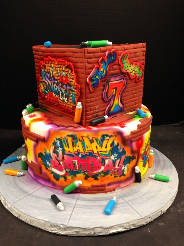 90S Birthday Cake Graffiti And Glow Themed 2 Tier Cake Perfect For Your Next Glow