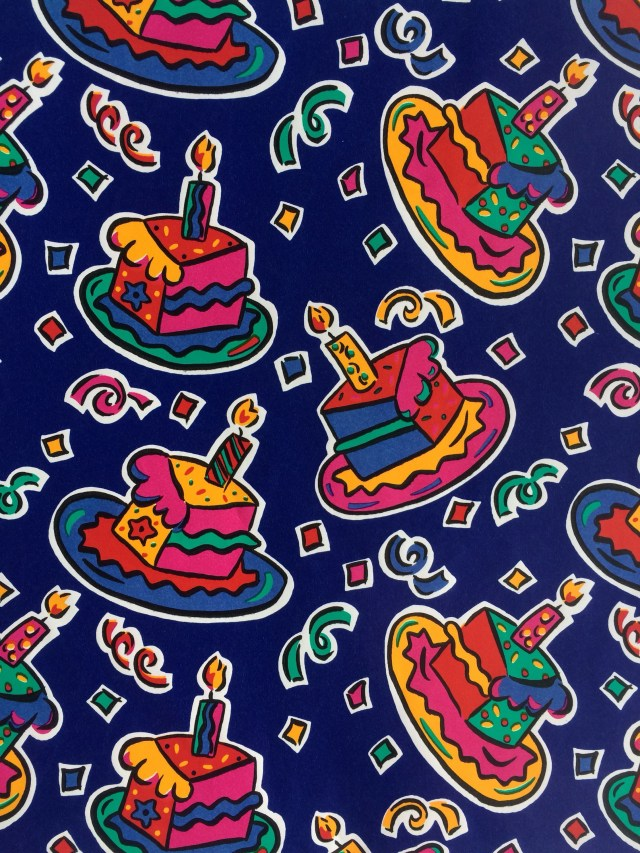 90S Birthday Cake Vintage Happy Birthday Cake 90s Gift Wrap Wrapping Paper One Etsy