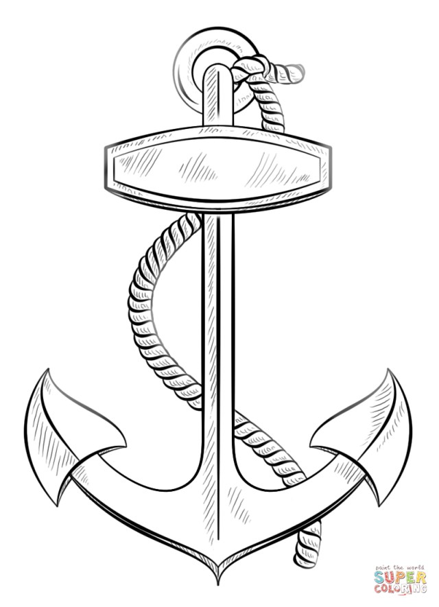 Anchor Coloring Page Anchor With Rope Coloring Page Free Printable Coloring Pages