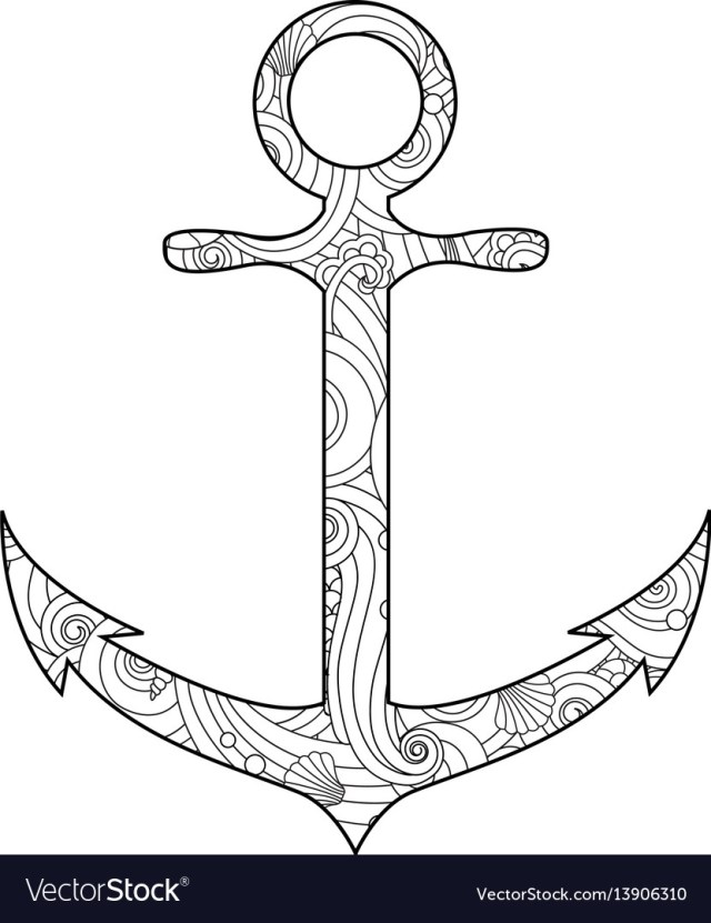 Anchor Coloring Page Coloring Page With Anchor Isolated On White Vector Image