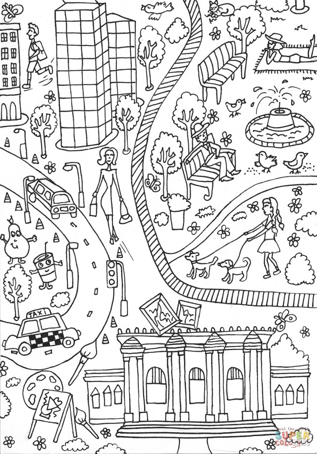Art Coloring Pages Central Park And Metropolitan Museum Of Art Coloring Page Free