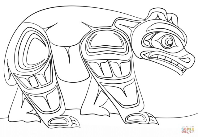 Art Coloring Pages Haida Art Bear Coloring Page Free Printable Coloring Pages