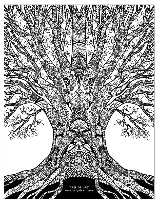 Art Coloring Pages Tree Of Life Doodle Art Free Adult Coloring Page Karyn Lewis