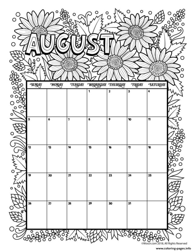 August Coloring Pages August Calendar Coloring Pages Printable