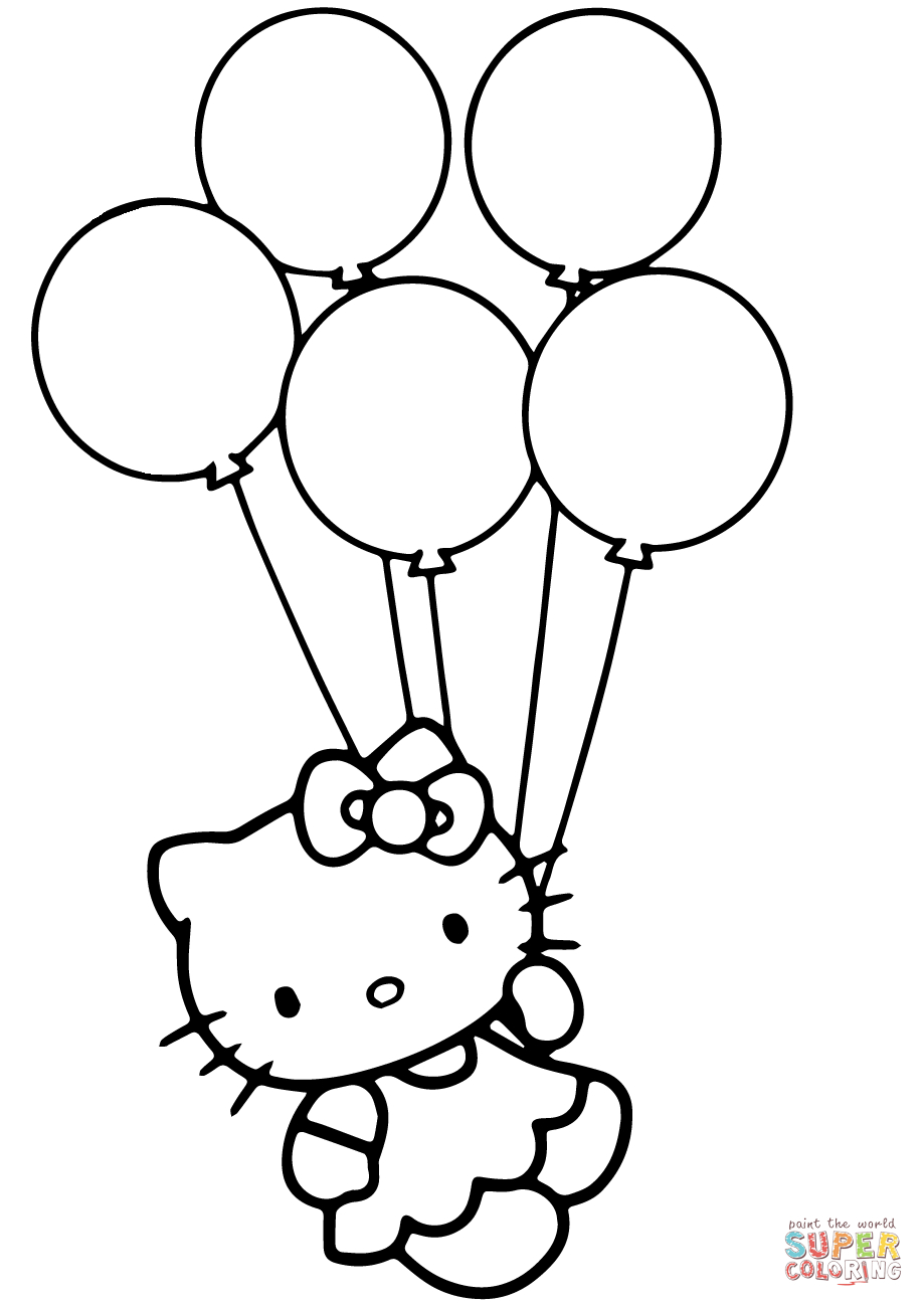 - Balloon Coloring Pages Hello Kitty With Balloons Coloring Page