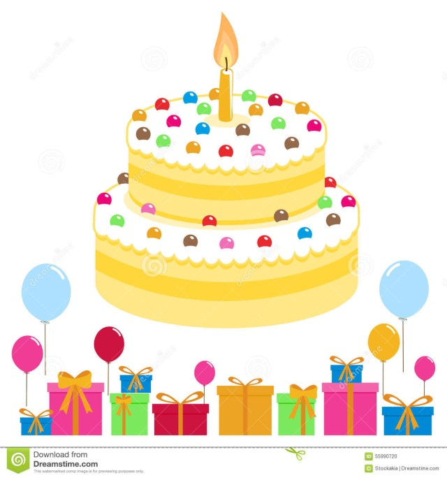 Birthday Cake And Balloons Birthday Cake Balloons And Presents Stock Vector Illustration Of