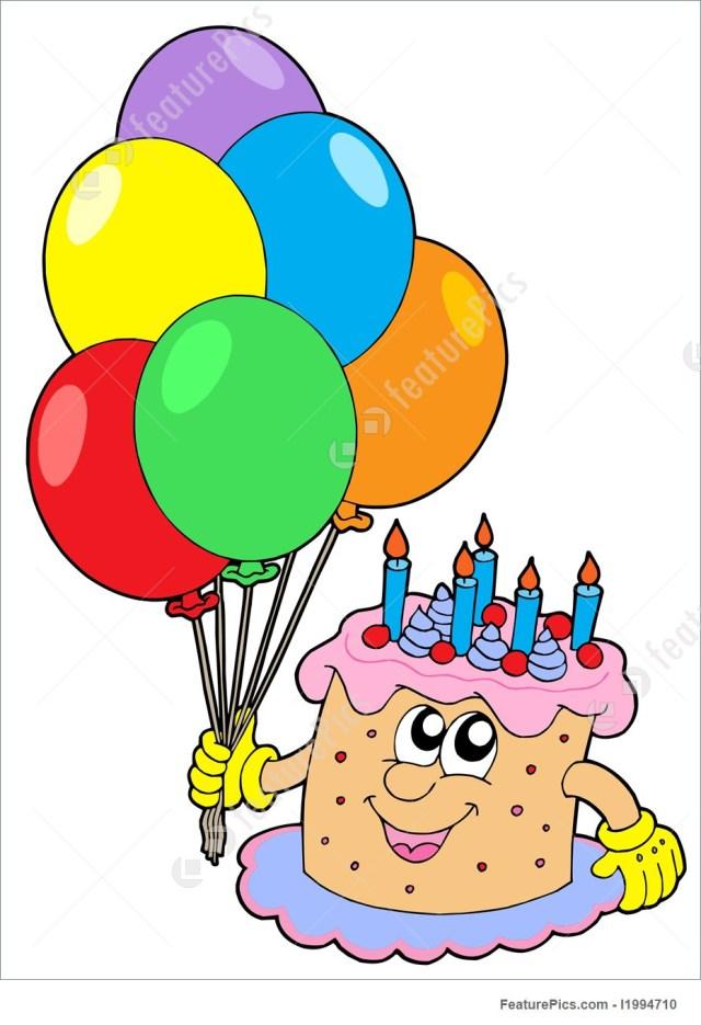 Birthday Cake And Balloons Birthday Cake With Balloons Illustration