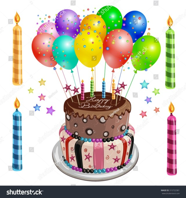 Birthday Cake And Balloons Decorated Birthday Cake Balloons Stock Vector Royalty Free