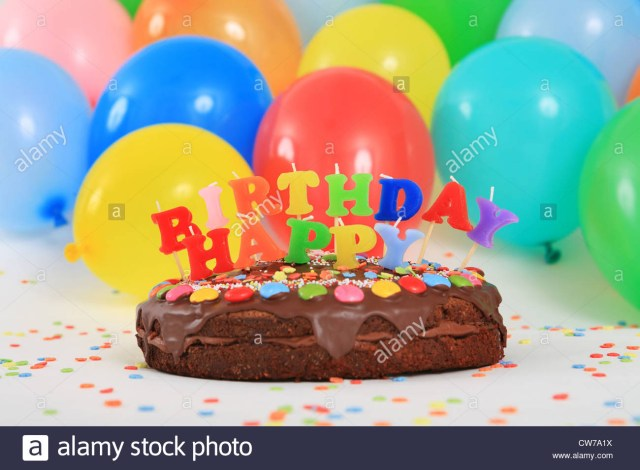 Birthday Cake And Balloons Happy Birthday Chocolate Cake With Candles And Balloons Stock Photo