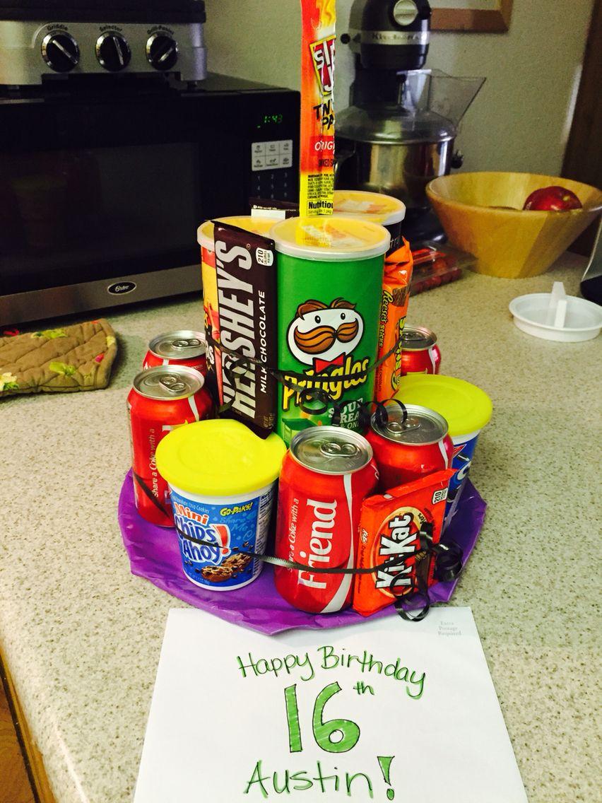 Wondrous Birthday Cake For 12 Year Old Boy Pringles Soda Candy Junk Cake 16 Personalised Birthday Cards Paralily Jamesorg