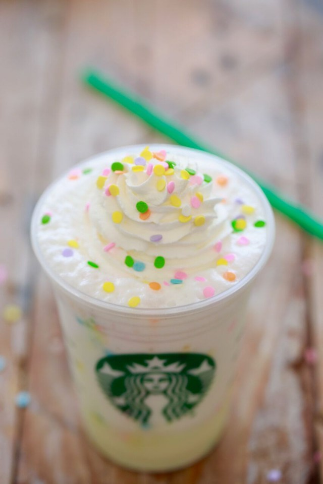 Birthday Cake Frappe Starbucks Birthday Cake Frappuccino Secret Menu Recipe Drinks