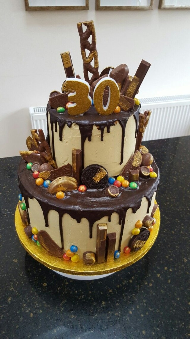 Birthday Cake Pictures For Man Two Tier Chocolate Drip 30th Birthday Cake Yuumm 30 Birthday