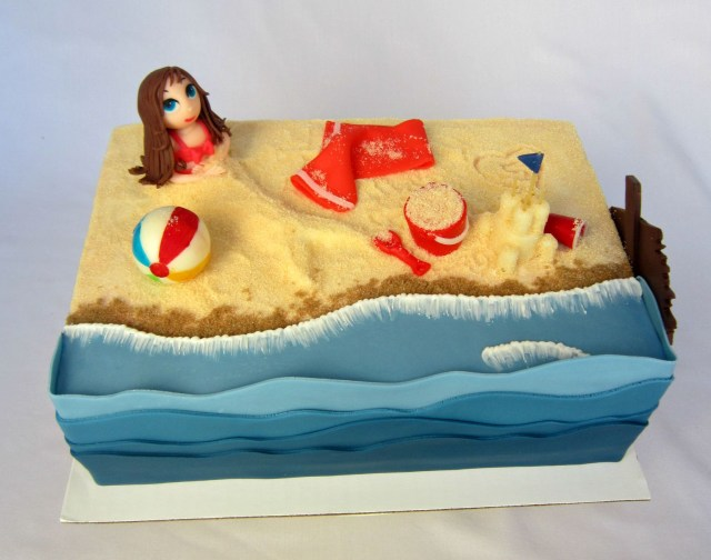 Birthday Cakes For Little Girls Delectable Cakes Little Girl Beach Party Birthday Cake