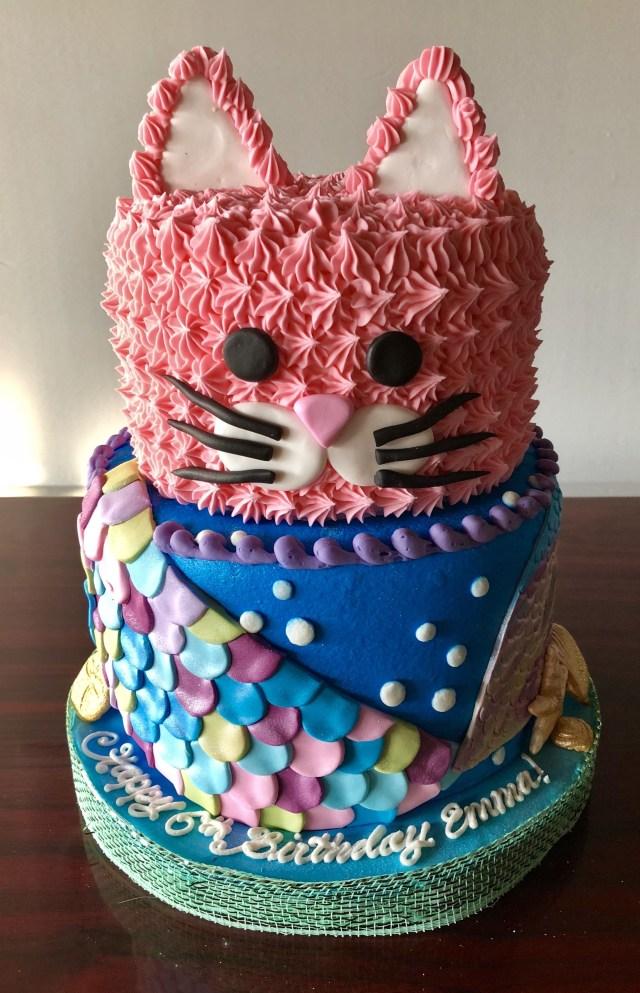 Birthday Cakes For Little Girls Kitty And Mermaid Cake Adrienne Co Bakery Little Girl Birthday