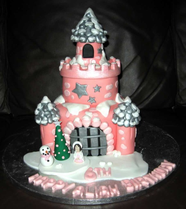 Birthday Cakes For Little Girls Snowy Pink Castle Cake With Little Girl And Snowman Cake