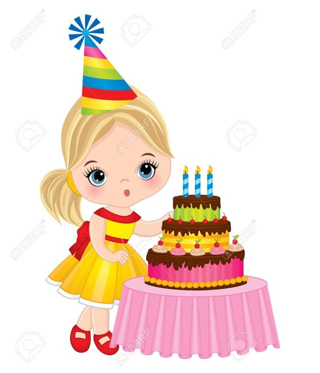 Birthday Cakes For Little Girls Vector Cute Little Girl Blowing Out Candles On Birthday Cake
