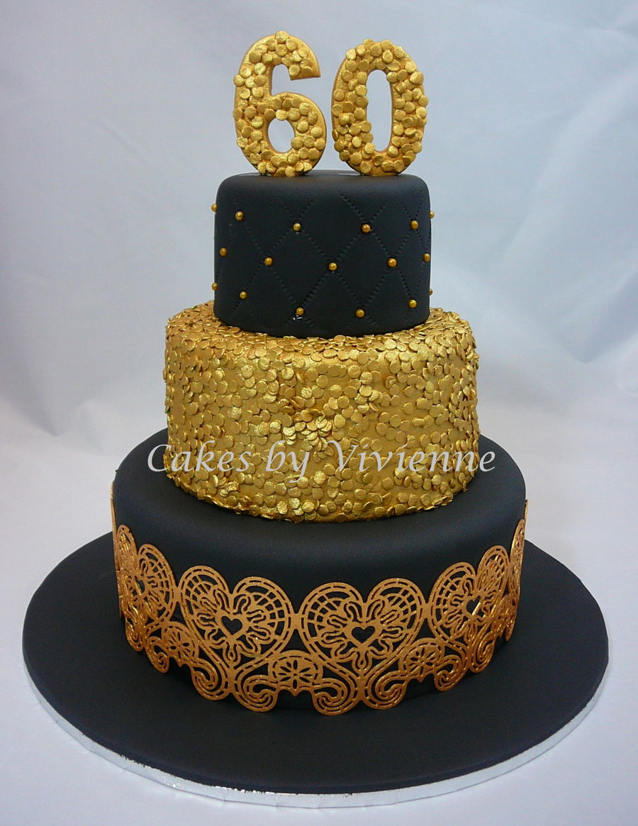 Fine Black And Gold Birthday Cake Black Gold 60Th Birthday Cake Funny Birthday Cards Online Alyptdamsfinfo