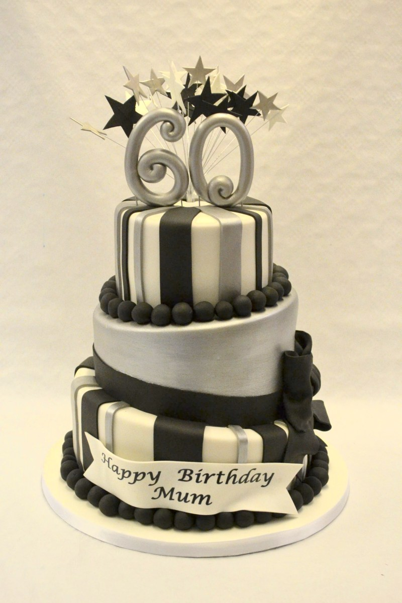 Wondrous Black And White Birthday Cakes Black White And Silver Topsy Turvy Personalised Birthday Cards Epsylily Jamesorg