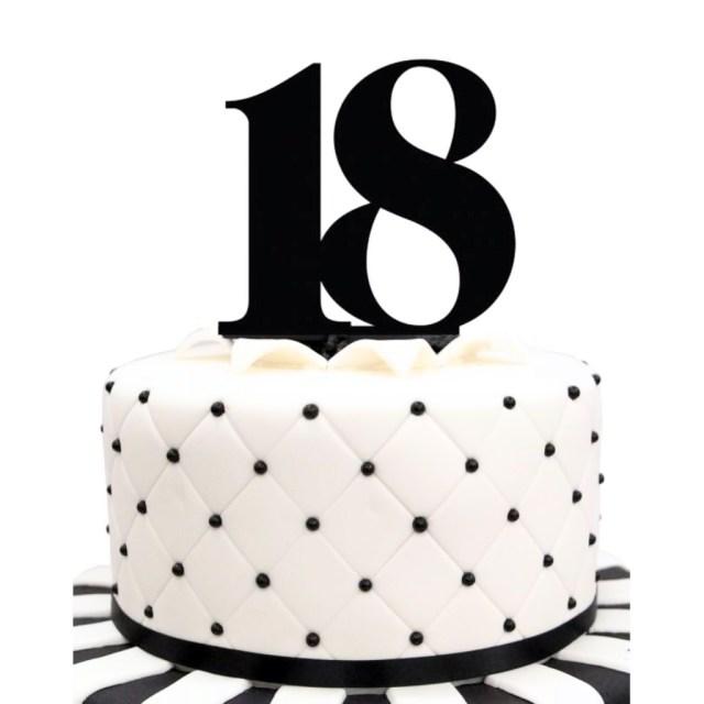 Black Birthday Cake Acrylic Number 18 Black Birthday Cake Topper Party Cupcake Fondant