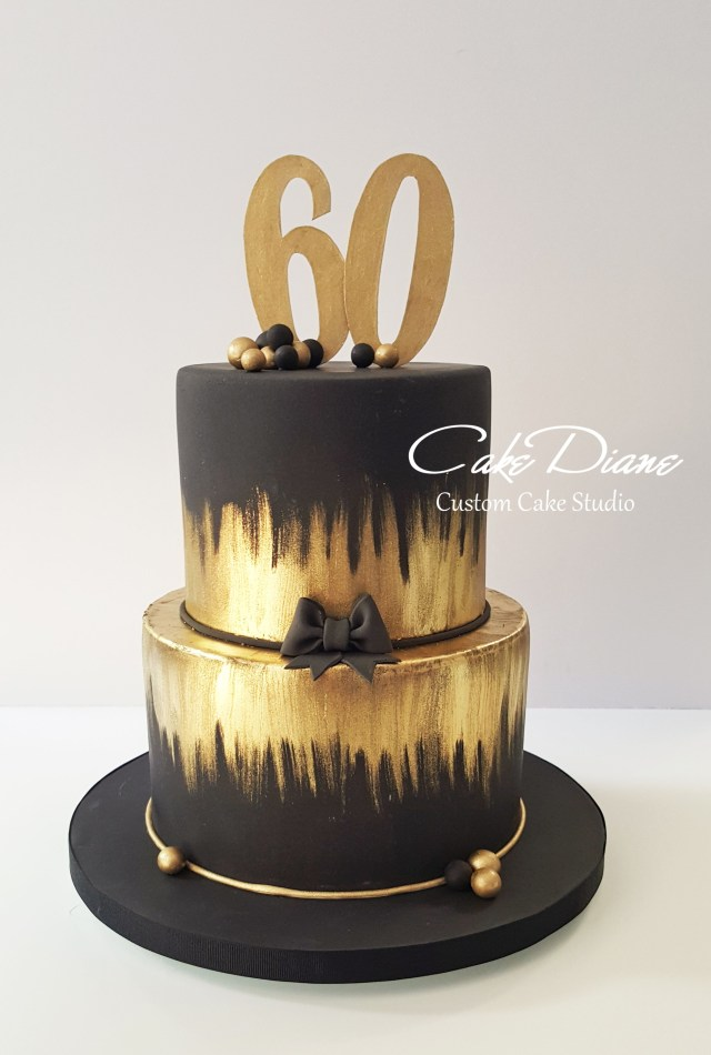 Black Birthday Cake Black And Gold Cake For A Mans 60th Birthday Adult Birthday