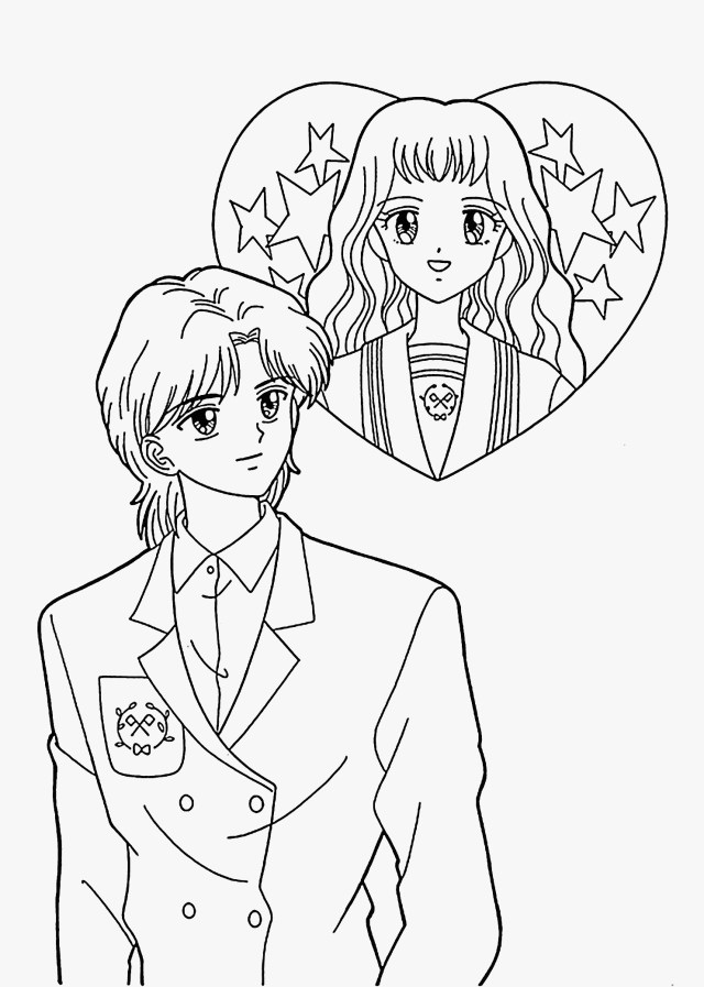 Anime Couple Coloring Page - Coloring Sheet Anime Couple ... | 897x640