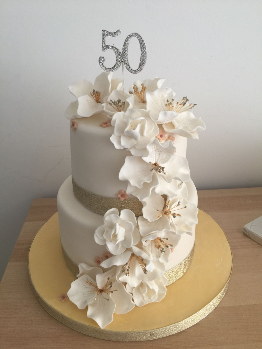Fabulous Cakes For 50Th Birthday 50Th Birthday Cake With Fondant Flowers Birthday Cards Printable Riciscafe Filternl