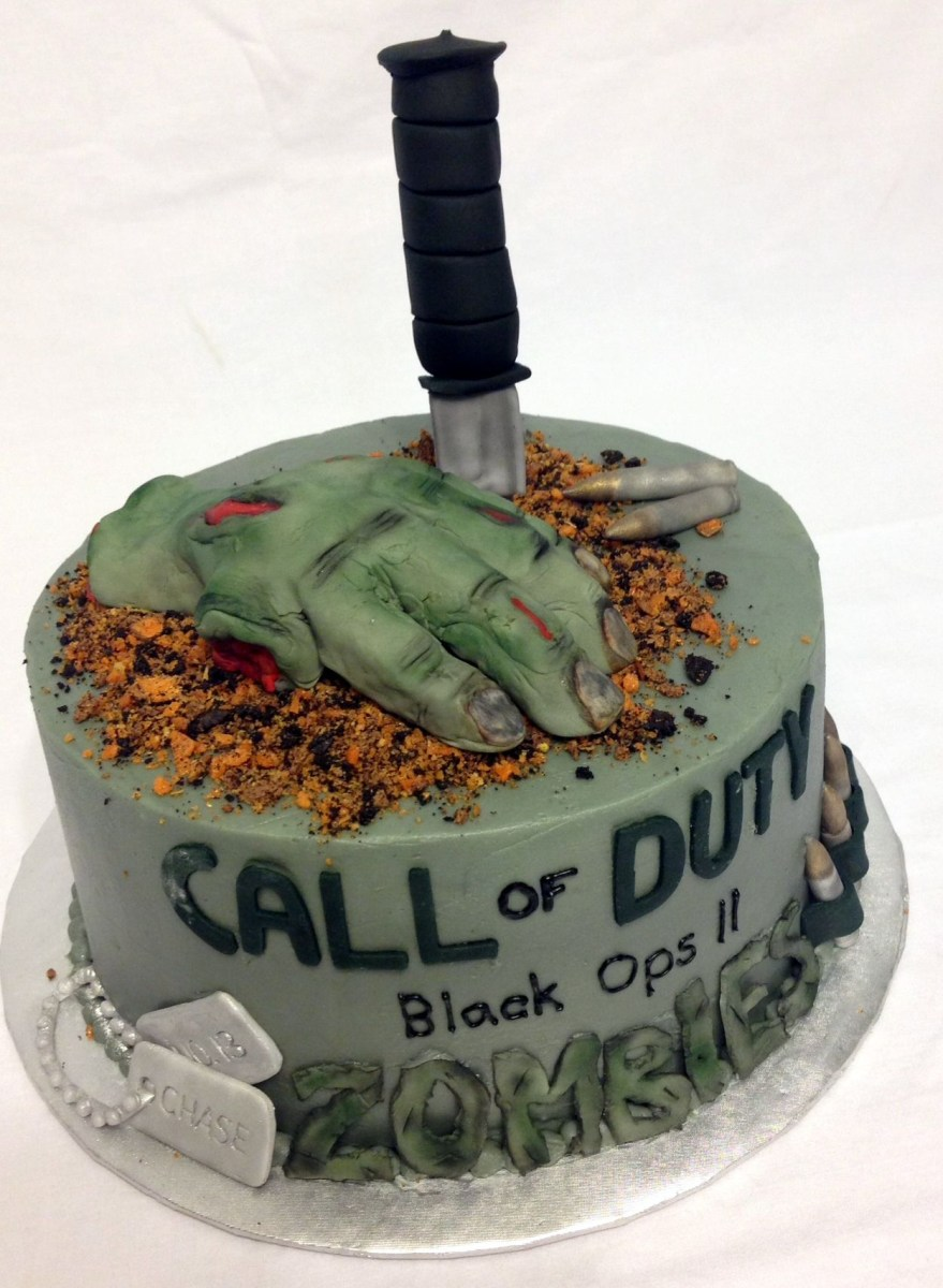 Magnificent Call Of Duty Birthday Cake A Call Of Duty Zombies Themed Birthday Funny Birthday Cards Online Inifodamsfinfo