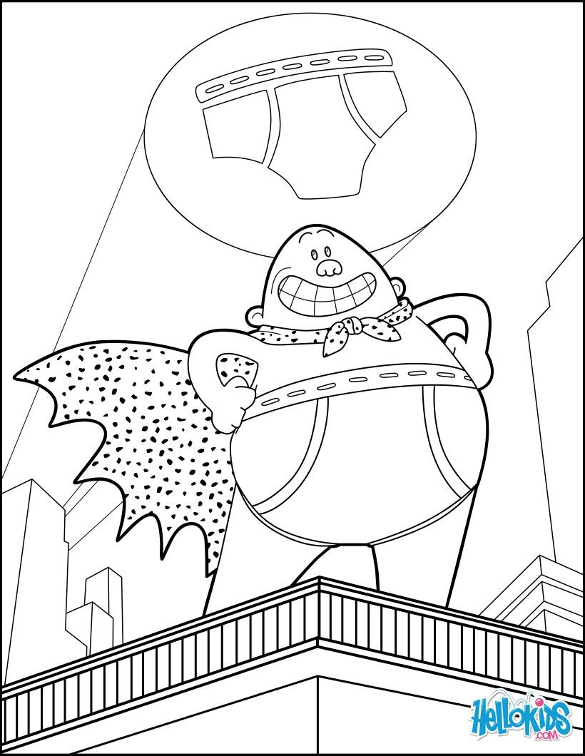 Captain Underpants Coloring Pages Captain Underpants Coloring Pages Hellokids