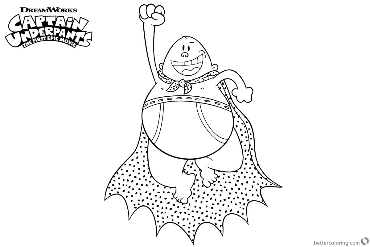 Captain Underpants Coloring Pages Flying Captain Underpants Coloring Pages Free Printable Coloring Pages