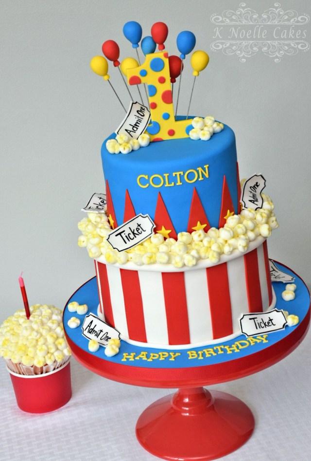 Carnival Birthday Cake Carnival Theme With Popcorn K Noelle Cakes Cakes K Noelle