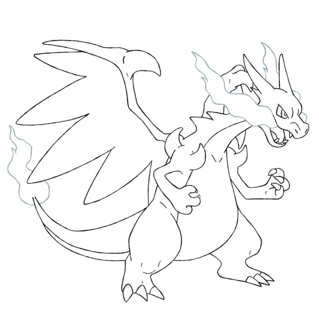 Charizard Coloring Pages Wonderful Pokemon Coloring Pages Mega Charizard X Color Page
