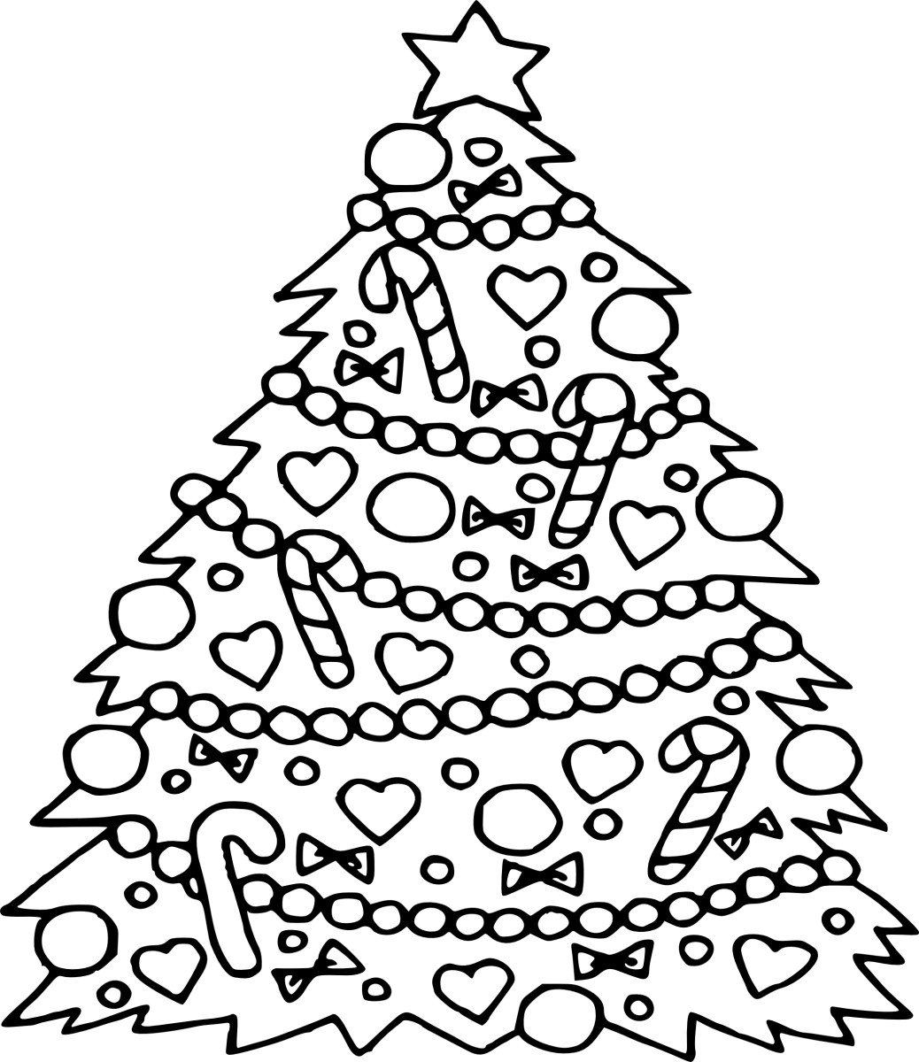 Free Christmas Tree Coloring Pages For Kids Drawing With Crayons