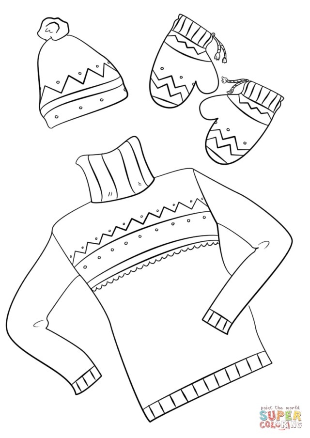 Clothes Coloring Pages Winter Clothes Coloring Page Free Printable Coloring Pages