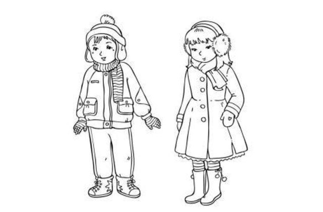 Clothes Coloring Pages Winter Coloring Pages Clothes For Boy And Girl Winter Coloring