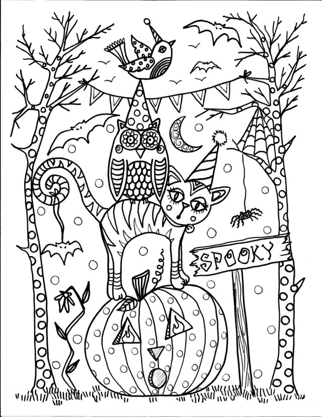 Coloring Pages For Halloween 5 Pages Instant Download Halloween Coloring Pages 5 Different Etsy