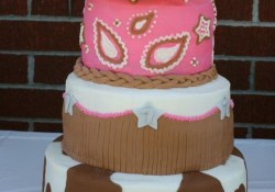 Cowgirl Birthday Cakes 3 Tier Cake With Buttercream Icing And Fondant Accents Cakes And