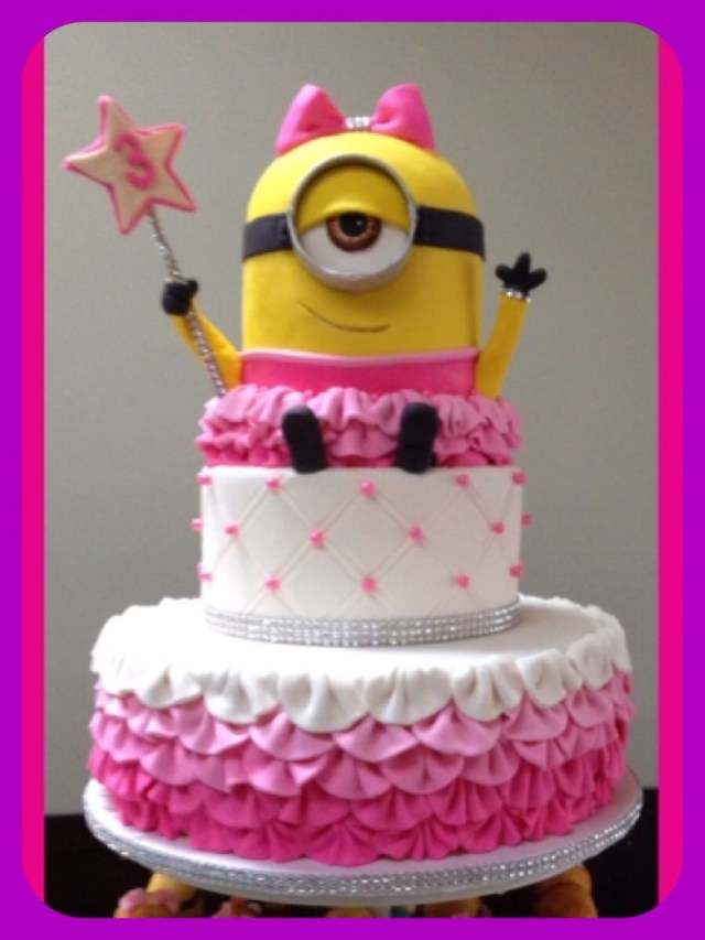 Cute Birthday Cakes For Girl Minion Cake Party Pink Bow