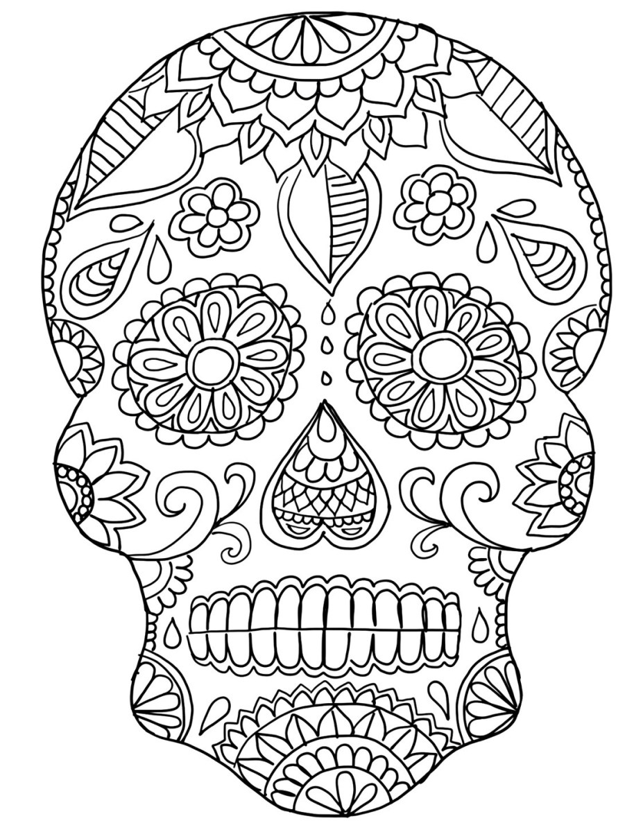 Day Of The Dead Coloring Pages Day Of The Dead Skull